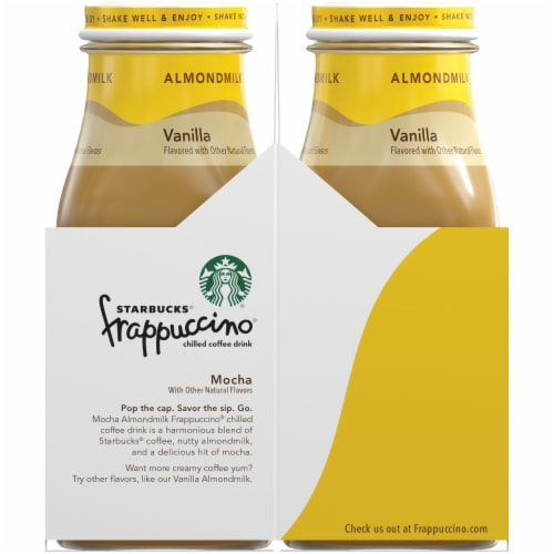 Starbucks Frappuccino Mocha Almond Milk Iced Chilled Coffee Drink Perspective: left