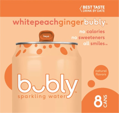 bubly White Peach Ginger Sparkling Water Perspective: left