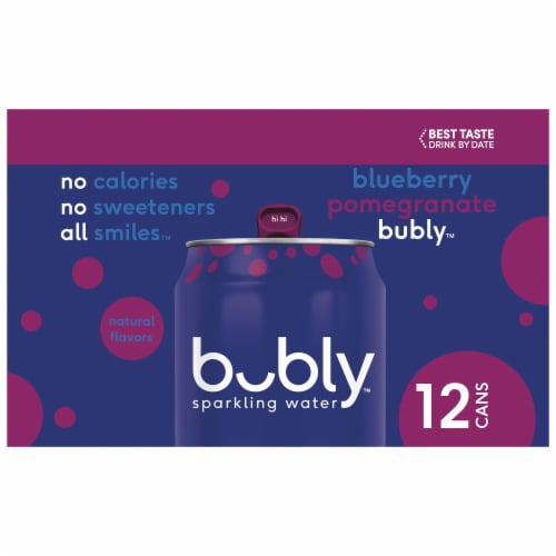 bubly Blueberry Pomegranate Sparkling Water Perspective: left