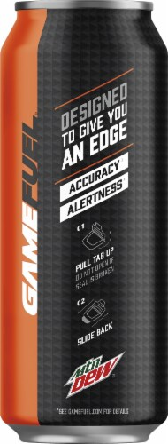 Mountain Dew Game Fuel Charged Orange Storm Energy Drink Perspective: left