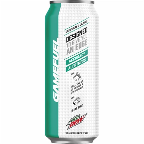 Mountain Dew Game Fuel Zero Calorie Watermelon Energy Drink 16 oz Can Perspective: left