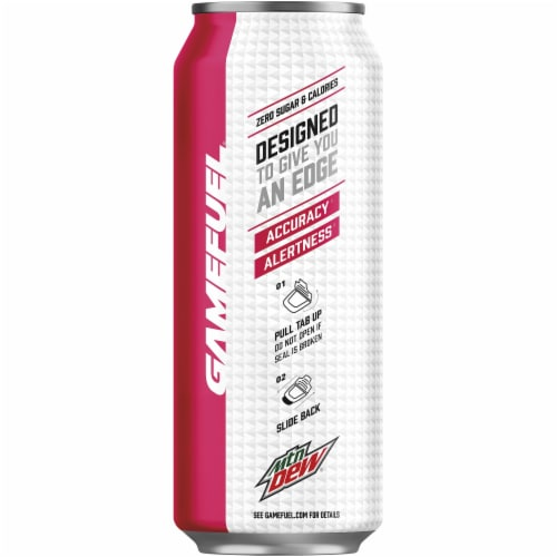 Mountain Dew Game Fuel Raspberry Lemonade Energy Drink 16 oz Can Perspective: left