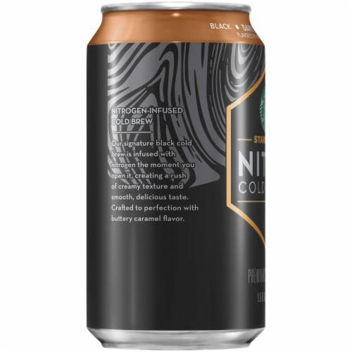 Starbucks Nitro Cold Brew Dark Caramel Premium Iced Coffee Drink Perspective: left