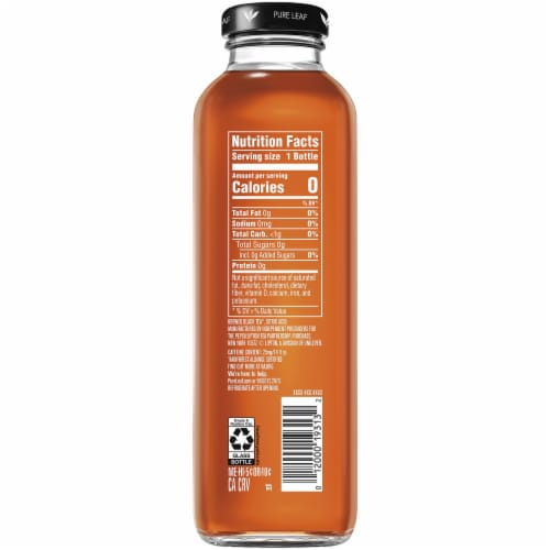 Pure Leaf Unsweetened Cold Brew Black Iced Tea Bottle Perspective: left