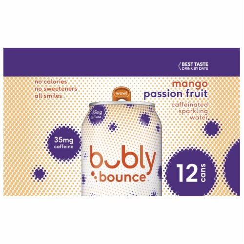 bubly Bounce Mango Passion Fruit Caffeinated Sparkling Water Perspective: left