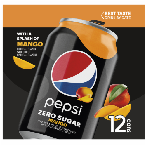 Pepsi Mango Zero Sugar Soda Perspective: left
