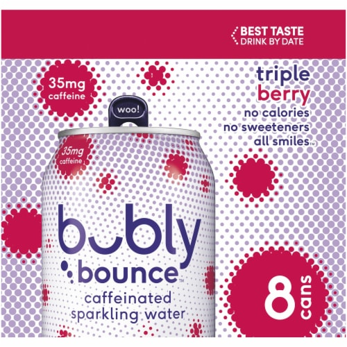 bubly Bounce Caffeinated Triple Berry Flavored Sparkling Water Perspective: left