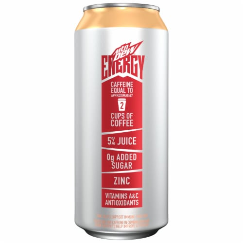 Mountain Dew Rise Peach Mango Energy Drink Perspective: left