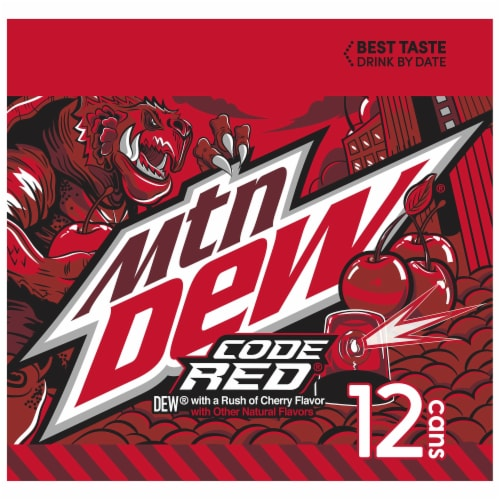 Mountain Dew Code Red Soda Perspective: left