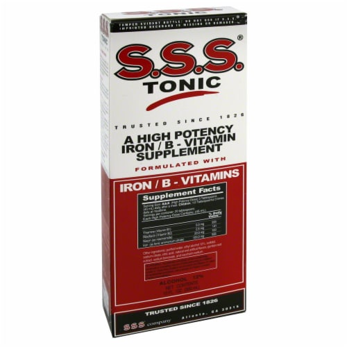 S.S.S. Tonic Iron & B-Vitamins Supplement Perspective: left