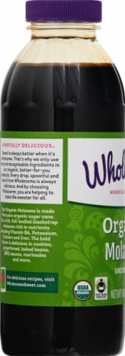 Wholesome Sweeteners Unsulphured Organic Molasses Perspective: left