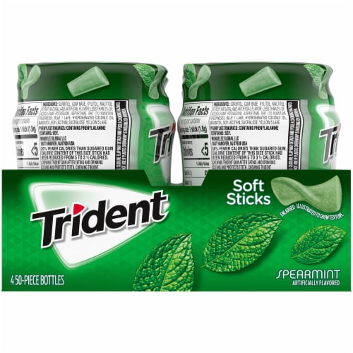 Trident Unwrapped Spearmint Sugar Free Gum 200 Count Perspective: left