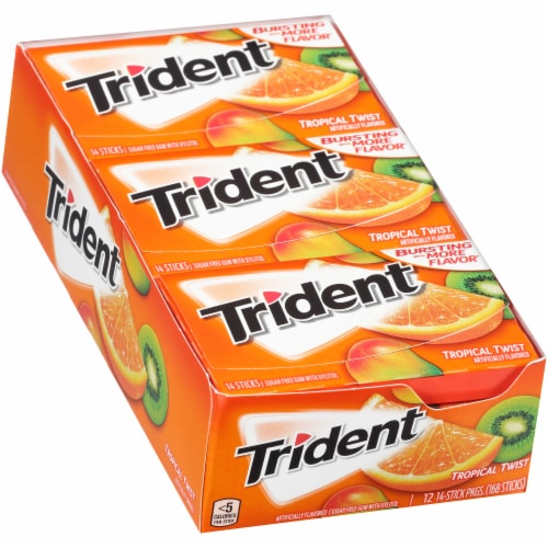 Trident Tropical Twist Sugar Free Gum (12 Pack) Perspective: left