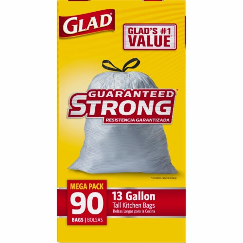 Glad Tall Kitchen Drawstring Reinforced Strength 13 Gallon Trash Bags Perspective: left