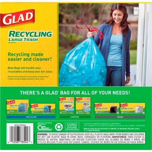Glad Blue Recycling Large Trash Bags Perspective: left