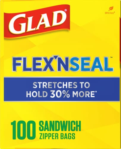 Glad Flex 'N Seal Sandwich Zipper Food Storage Bags Perspective: left