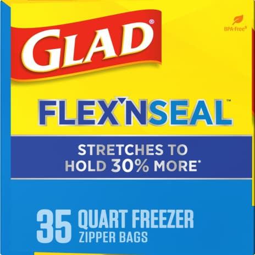 Glad® Flex'nseal Quart Freezer Storage Bags Perspective: left