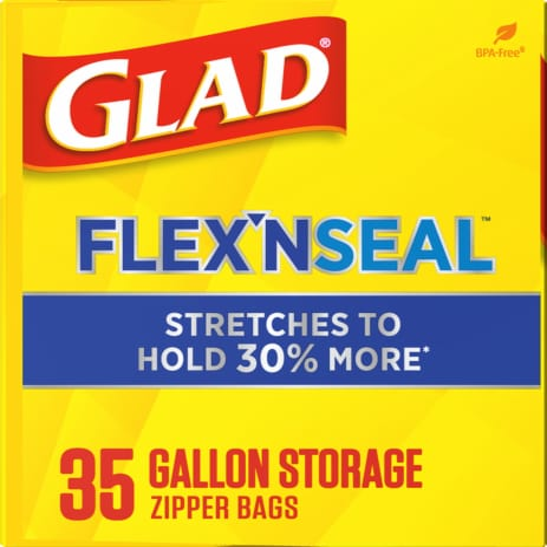 Glad Flex 'N Seal Gallon Storage Zipper Bags Perspective: left