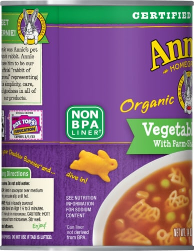 Annie's Homegrown Organic Farm-Shaped Pasta Vegetable Soup Perspective: left