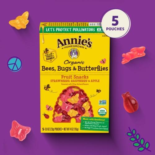 Annie's Organic Bees Bugs & Butterflies Fruit Kid Snacks Perspective: left