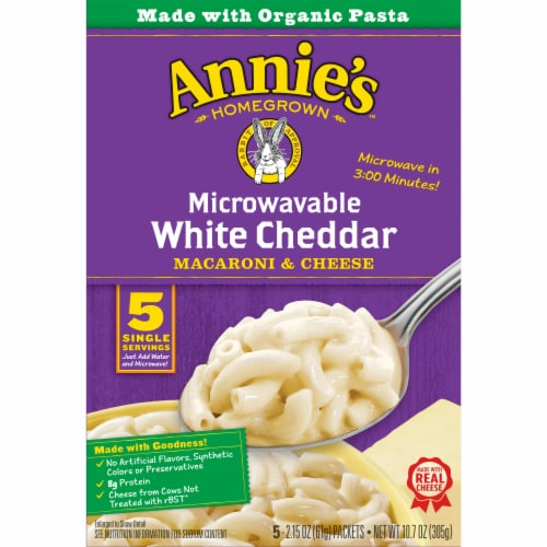 Annie's Microwavable White Cheddar Macaroni & Cheese 5 Count Perspective: left