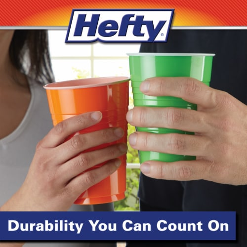 Hefty Party On Assorted Plastic Cups Perspective: left