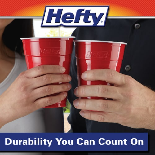 Hefty Party On Red Plastic Party Cups Perspective: left