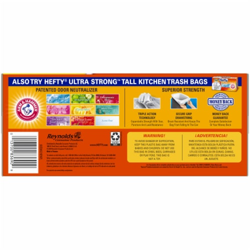 Hefty Strong Tall 13 Gallon Kitchen Drawstring Trash Bags Perspective: left