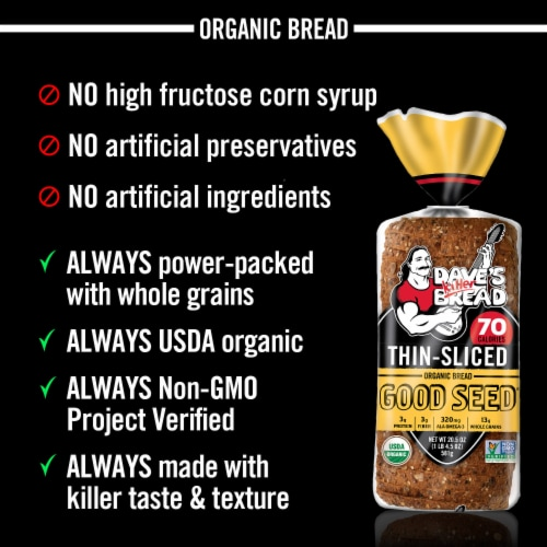 Dave's Killer Bread Thin-Sliced Organic Good Seed Whole Grain Bread Perspective: left