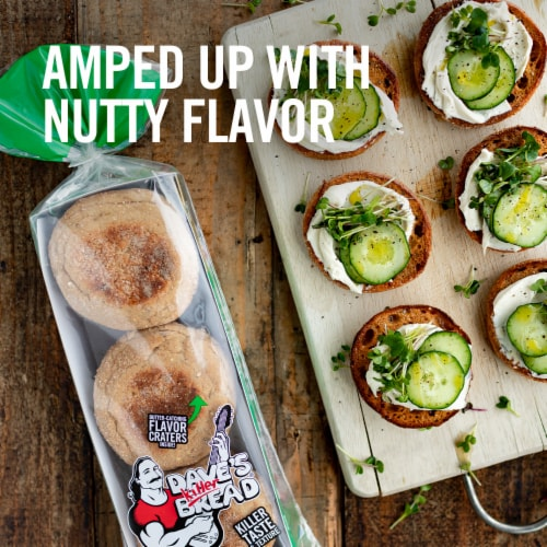 Dave's Killer Bread Organic Rockin' Grains English Muffins 6 Count Perspective: left