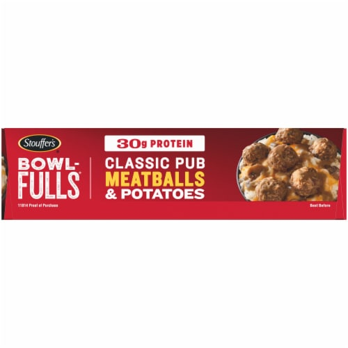 Stouffer's Bowl-Fulls Classic Pub Meatballs & Mashed Potatoes Bowl Frozen Meal Perspective: left