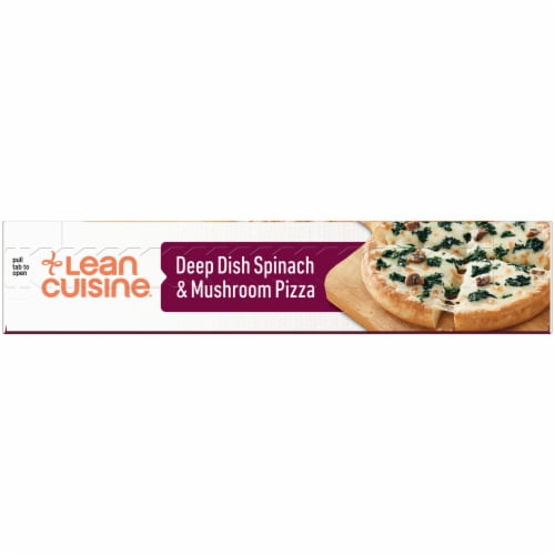Lean Cuisine Features Deep Dish Spinach & Mushroom Frozen Pizza Perspective: left