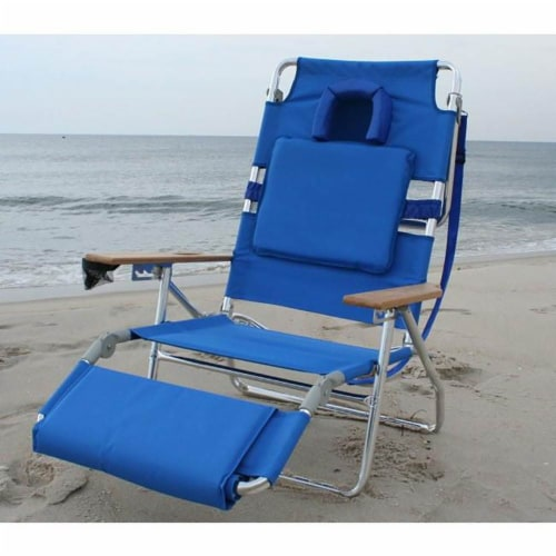Ostrich Deluxe Padded 3-N-1 Outdoor Lounge Reclining Beach Chair, Blue Perspective: left