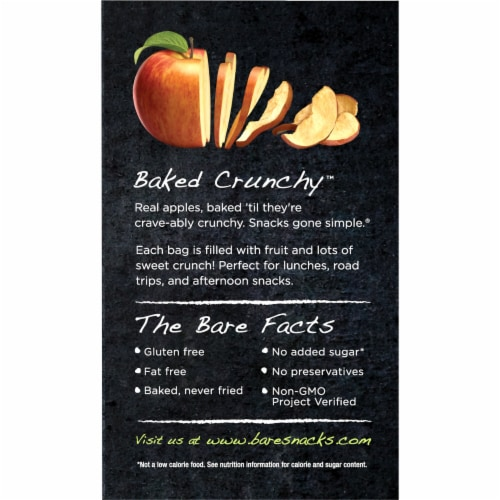 Bare Baked Crunchy Apple Chips Snack Pack Perspective: left