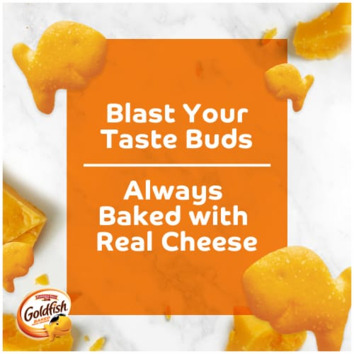 Goldfish Flavor Blasted Cheddar & Sour Cream Flavored Snack Crackers Perspective: left