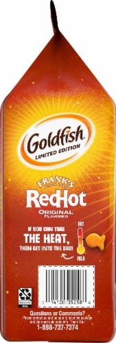 Goldfish Limited Edition Frank's RedHot Baked Snack Crackers Perspective: left