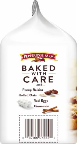 Pepperidge Farm Santa Cruz Soft Baked Oatmeal Raisin Cookies Perspective: left