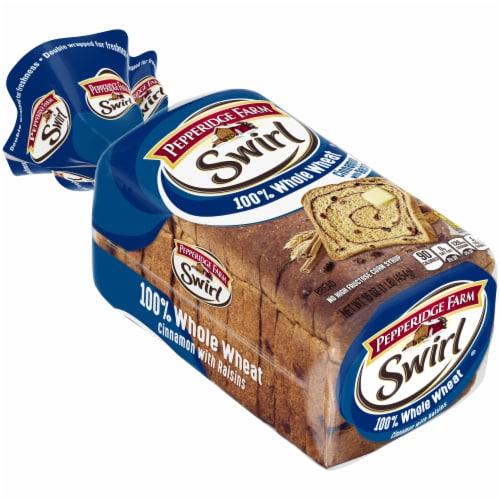 Pepperidge Farm 100% Whole Wheat Cinnamon With Raisins Swirl Bread Perspective: left