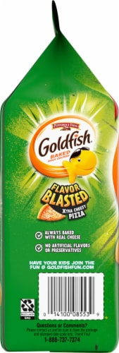 Goldfish Flavor Blasted Cheesy Pizza Baked Snack Crackers Perspective: left