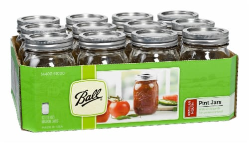 Ball® Regular Mouth Pint Jars - 12 Pack - Clear Perspective: left