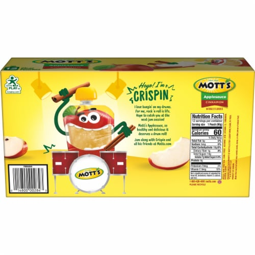 Mott's Cinnamon Applesauce Pouches 12 Count Perspective: left