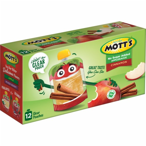 Mott's No Sugar Added Cinnamon Applesauce Perspective: left