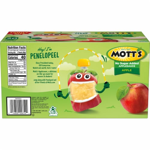 Mott's No Sugar Added Applesauce Pouches Perspective: left