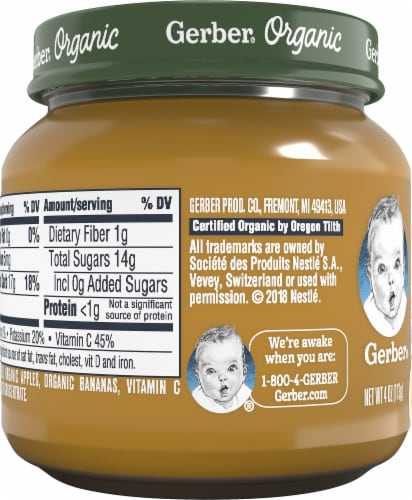 Gerber Organic Mango Apple Banana Stage 2 Baby Food Perspective: left