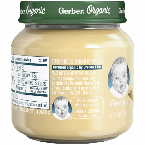 Gerber Organic 1st Foods Banana Baby Food Perspective: left