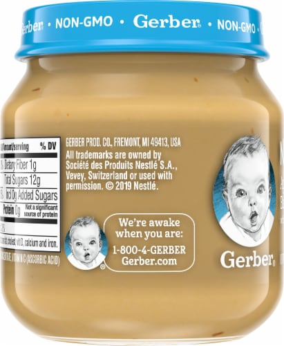 Gerber 2nd Foods Natural Apple Strawberry Banana Stage 2 Baby Food Perspective: left