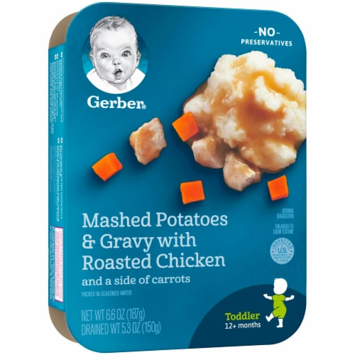 Gerber Mashed Potatoes & Gravy with Roasted Chicken Toddler Lil' Entree Perspective: left
