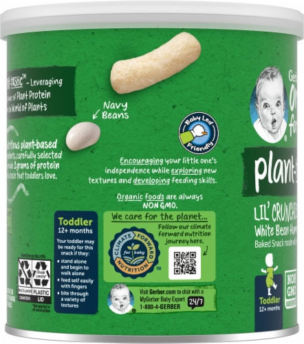 Gerber Organic Lil' Crunchies Toddler White Bean Hummus Baked Snack Perspective: left