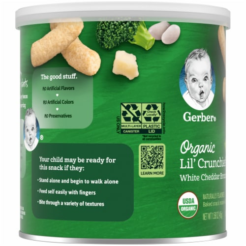 Gerber Organic Lil' Crunchies White Cheddar Broccoli Baked Toddler Snack Perspective: left