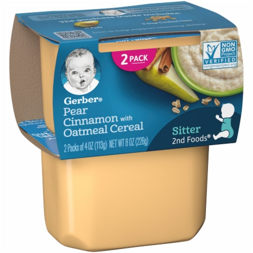 Gerber 2nd Foods Pear Cinnamon with Oatmeal Cereal Stage 2 Baby Food Perspective: left